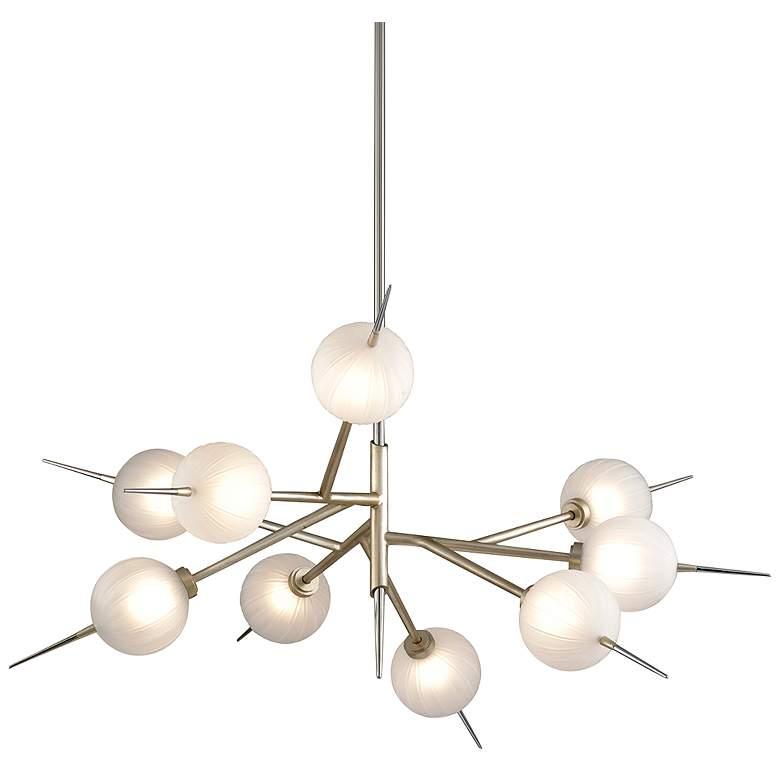 """Tempest 42"""" Wide Satin Silver Leaf 9-Light LED Chandelier"""