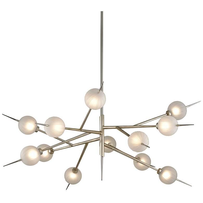 """Tempest 56"""" Wide Satin Silver Leaf 12-Light LED Chandelier"""