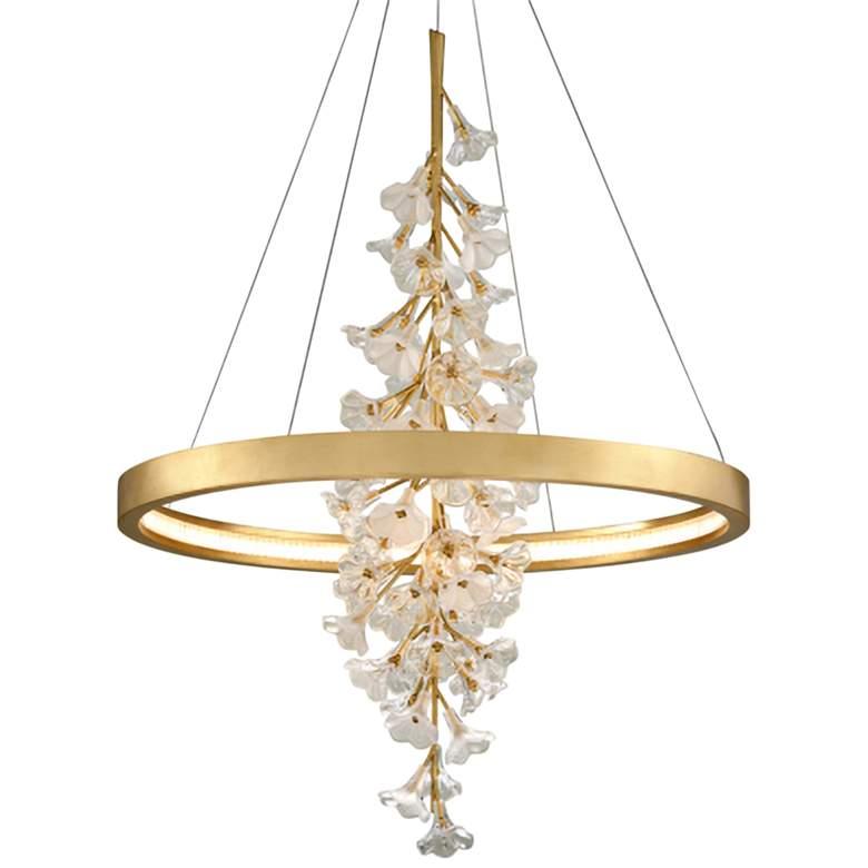 "Corbett Jasmine 36"" Wide Gold Leaf LED Floral Pendant Light"