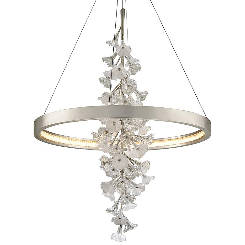 "Corbett Jasmine 36""W Silver Leaf LED Floral Pendant Light"