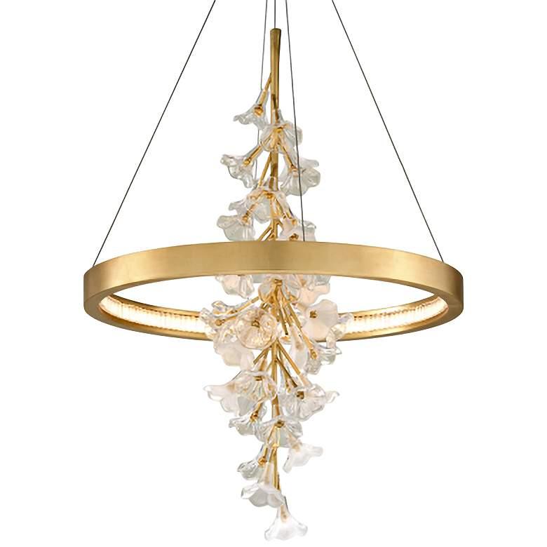 "Corbett Jasmine 28"" Wide Gold Leaf LED Floral Pendant Light"