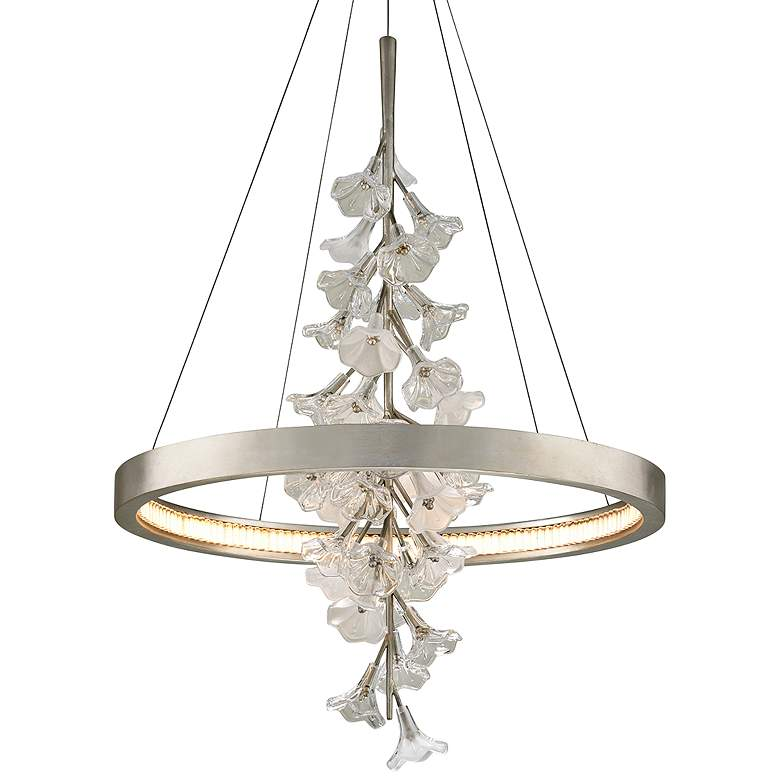 "Corbett Jasmine 28""W Silver Leaf LED Floral Pendant Light"