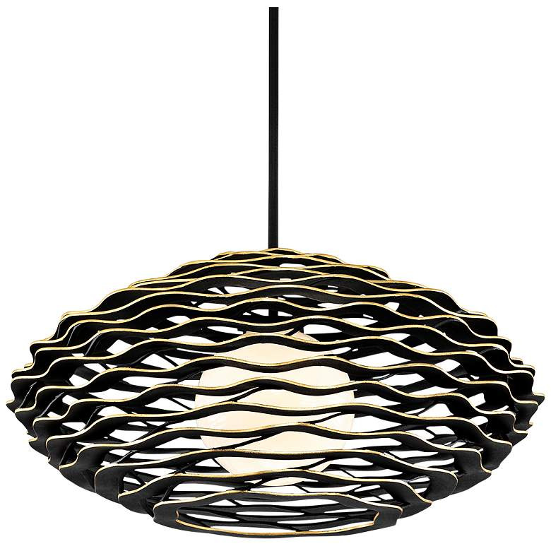 "Corbett Luma 40"" Wide Textured Black Pendant Light"