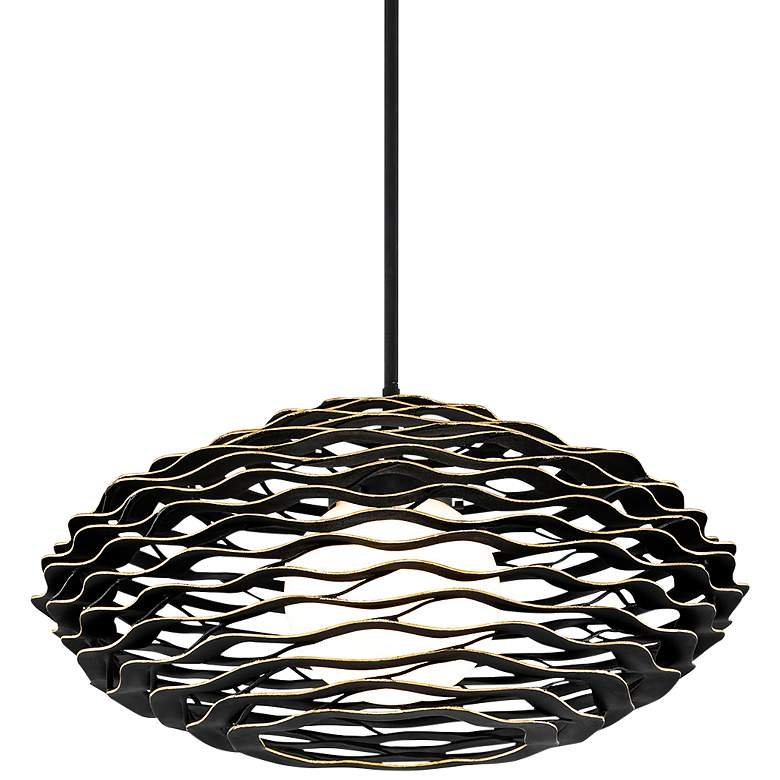 "Corbett Luma 30"" Wide Textured Black Pendant Light"