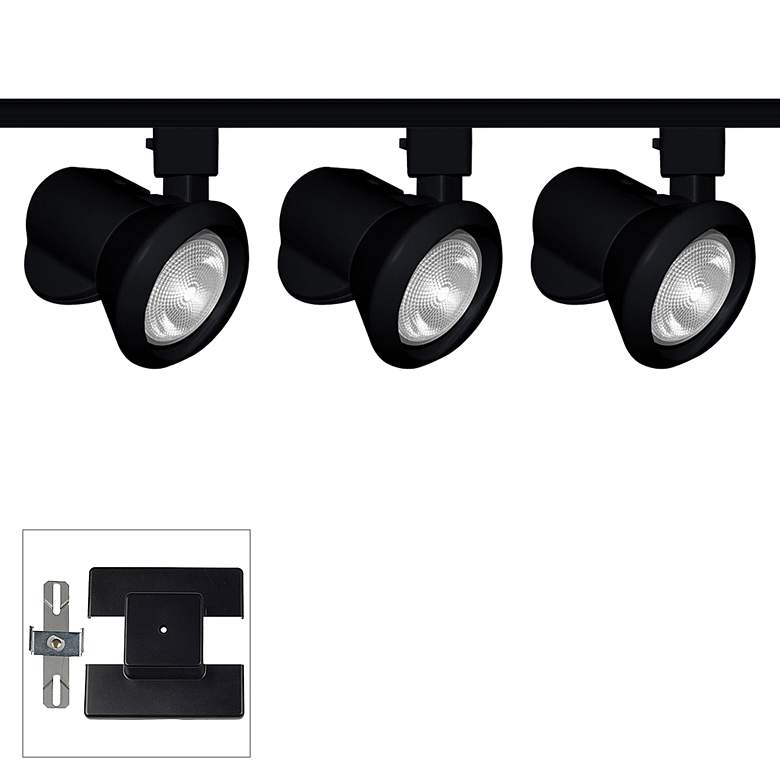 Close-Up 3-Light Black Low-Profile Floating Canopy Track Kit