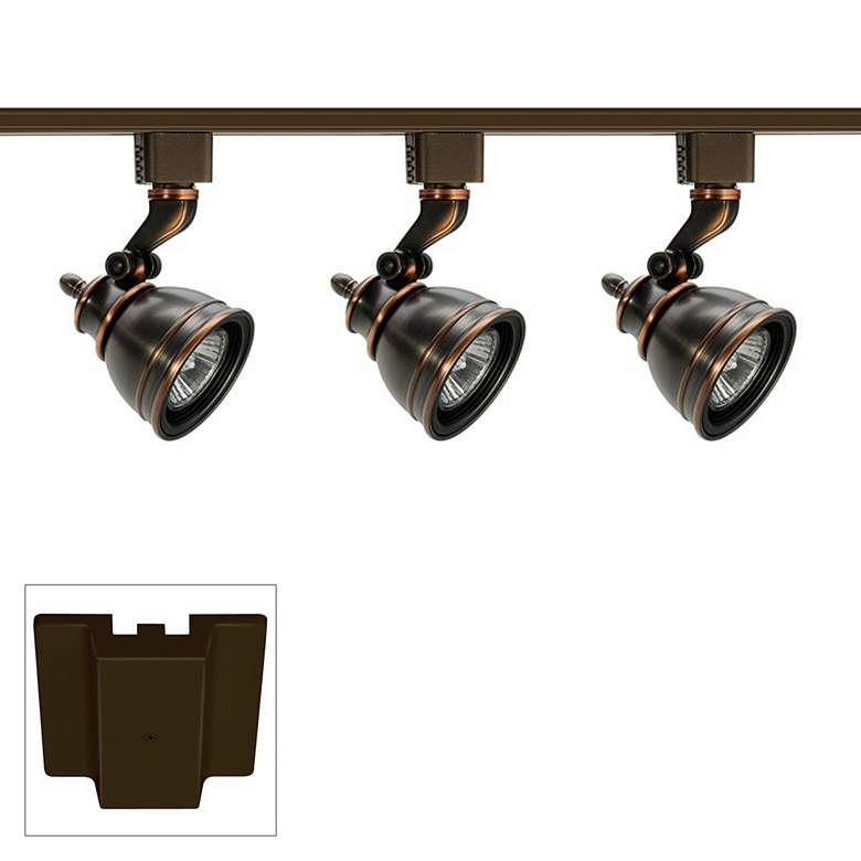 Juno 3-Light Bronze Bell GU10 Floating Canopy Track Kit