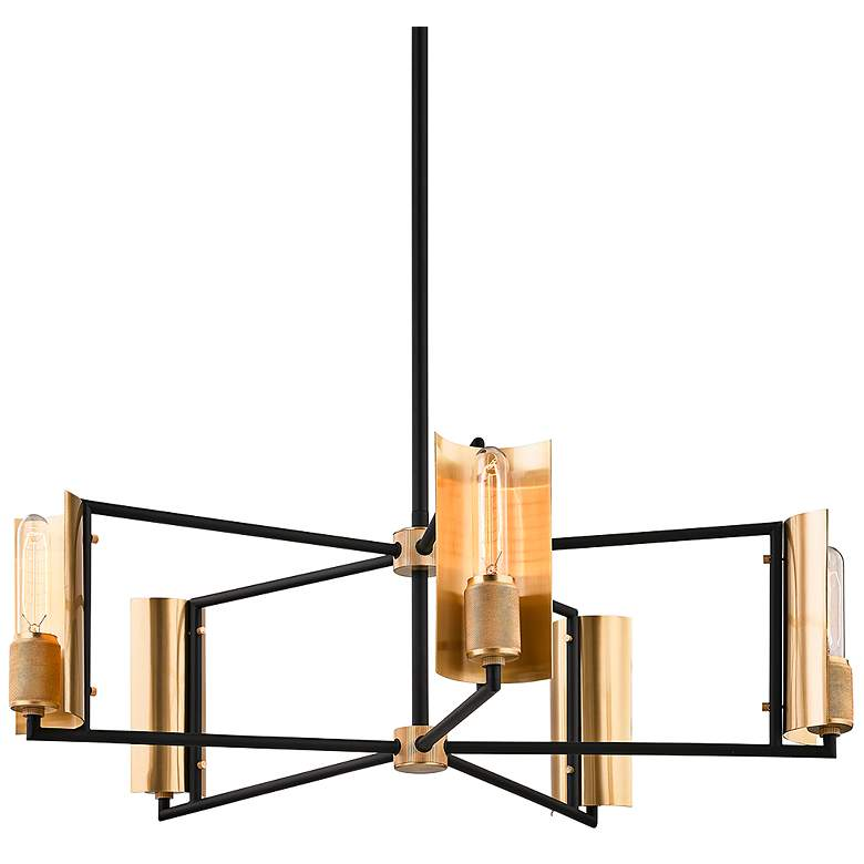 "Emerson 32"" Wide Carbide Black and Brass 5-Light Chandelier"