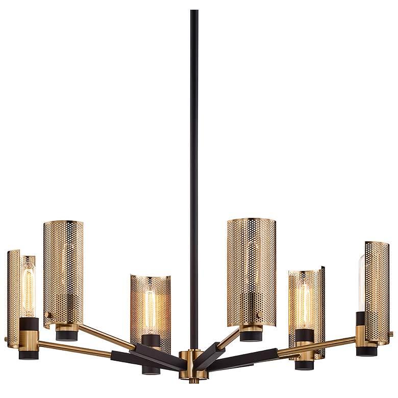 """Pilsen 30""""W Modern Bronze and Aged Brass 6-Light Chandelier"""