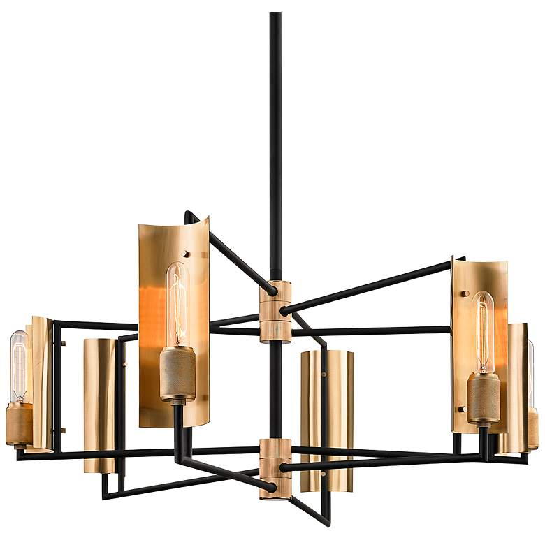 "Emerson 27"" Wide Carbide Black and Brass 6-Light Pendant"