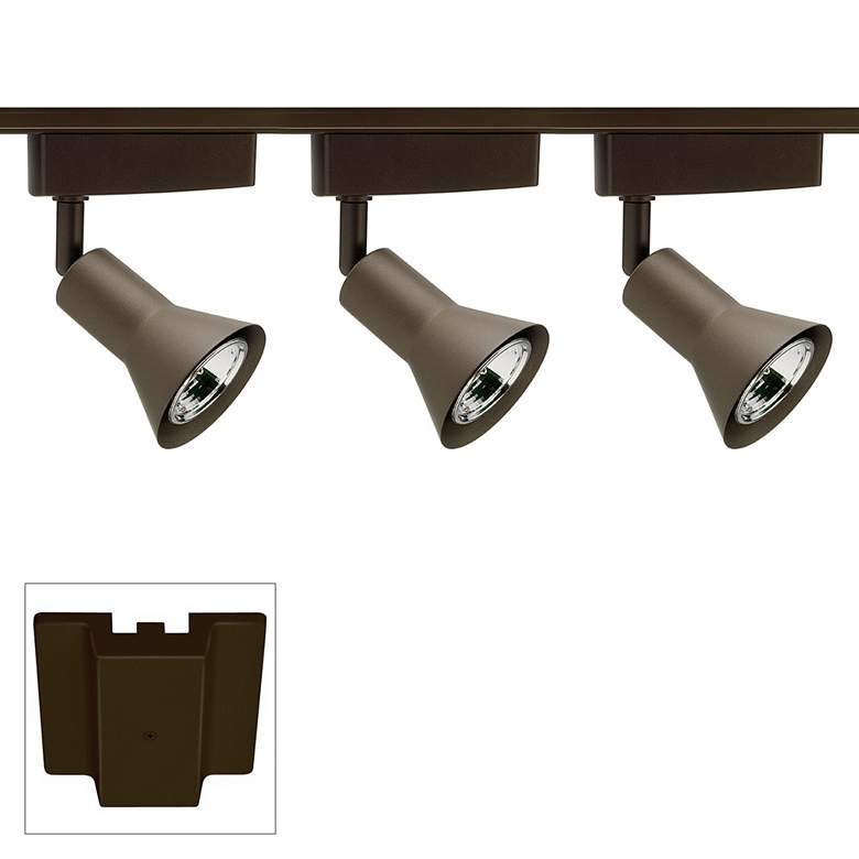 Trac-Lites 3-Light Bronze Flared Floating Canopy Track Kit