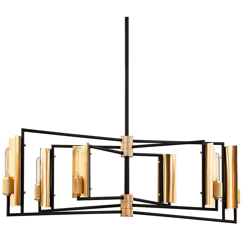 "Emerson 37""W Black and Brass Kitchen Island Light Pendant"