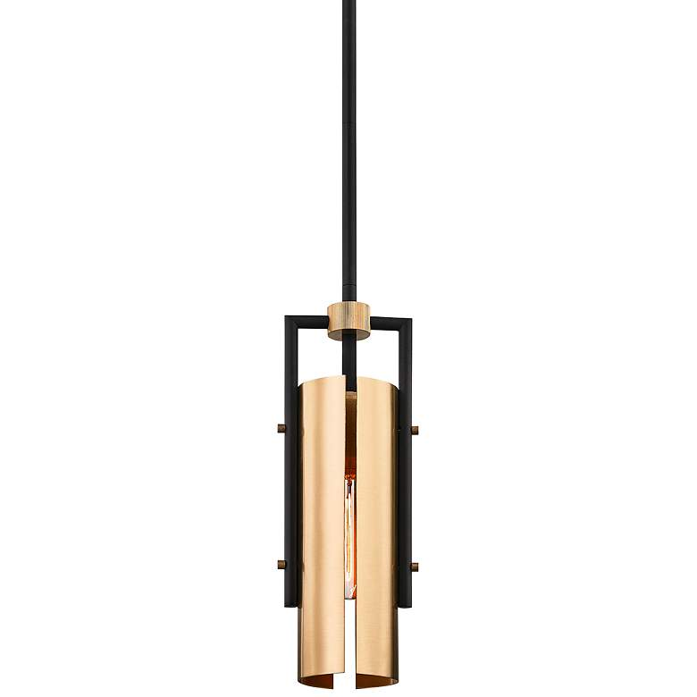 "Emerson 5"" Wide Carbide Black and Brushed Brass Mini Pendant"
