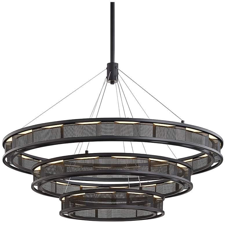 "Fuze 39"" Wide Modern Bronze 3-Tier LED Pendant Light"