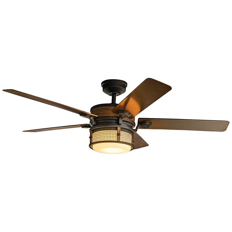 "60"" Kichler Ahrendale Auburn Stained LED Outdoor Ceiling Fan"