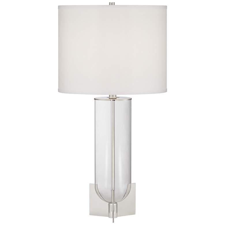 Sapri Clear Glass with Polished Nickel Column Table Lamp