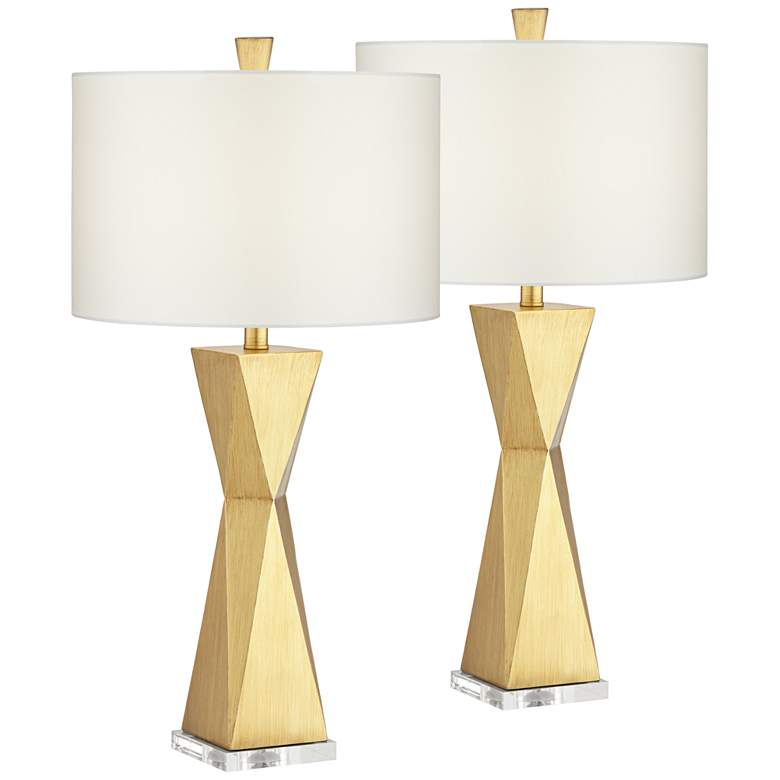 Kalso Brushed Gold Quadrangle Table Lamps Set of 2