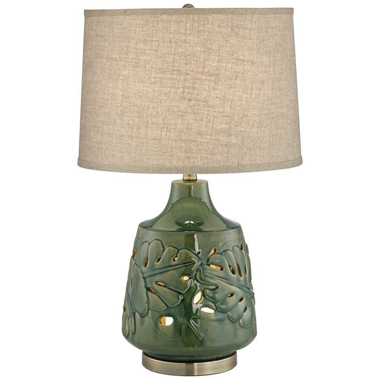 Green Leaves Glaze Ceramic Table Lamp with Nightlight ...