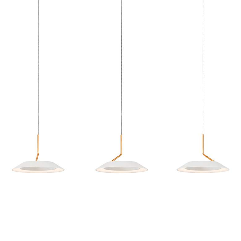"""Royyo 44"""" Wide Matte White and Gold 3-Light Linear Pendant"""
