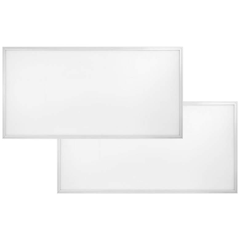 """48"""" Wide White 4000K LED Flat Panel Ceiling Light Set of 2"""