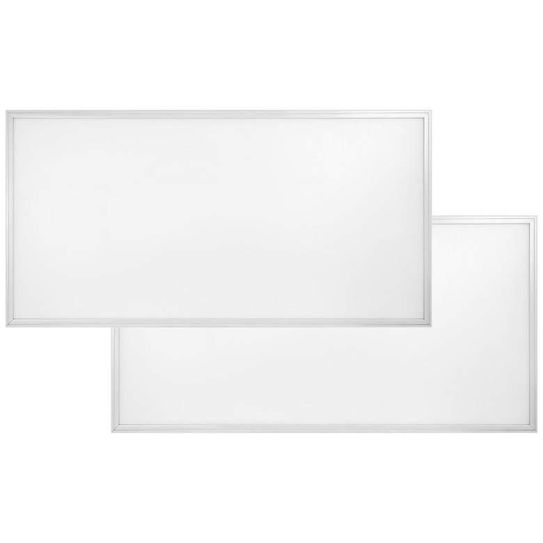 """48"""" Wide White 5000K LED Flat Panel Ceiling Light Set of 2"""