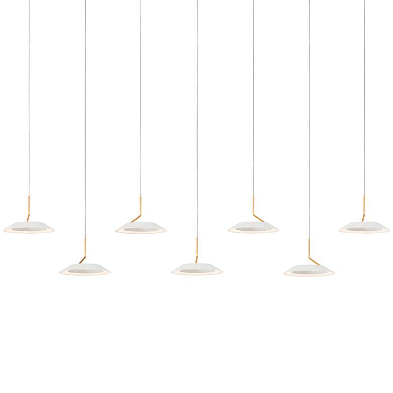 """Royyo 44""""W Matte White and Gold 7-Light Linear Pendant"""