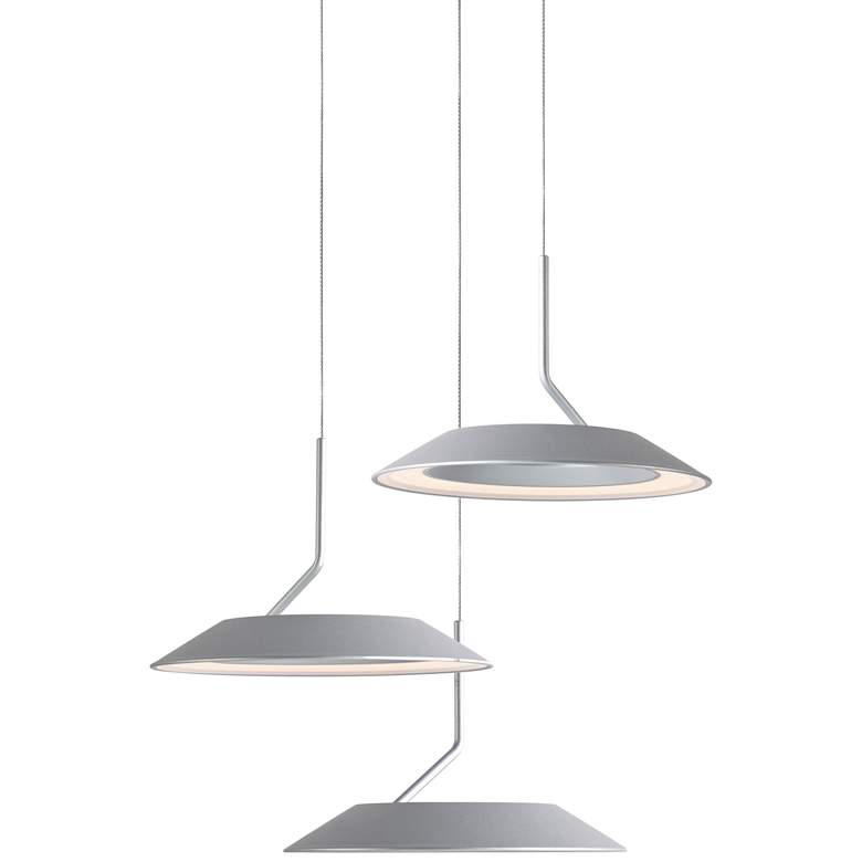 "Koncept Royyo 12"" Wide Silver 3-Light Mini Pendant"