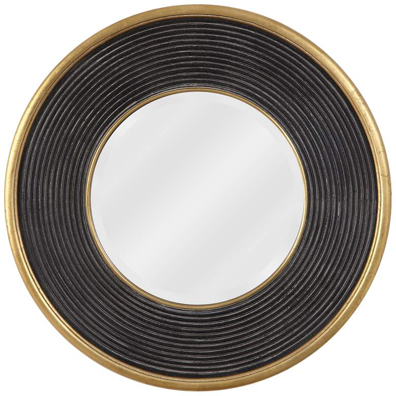 """Uttermost Odyssey Ribbed Aged Black 36"""" Round Wall Mirror"""