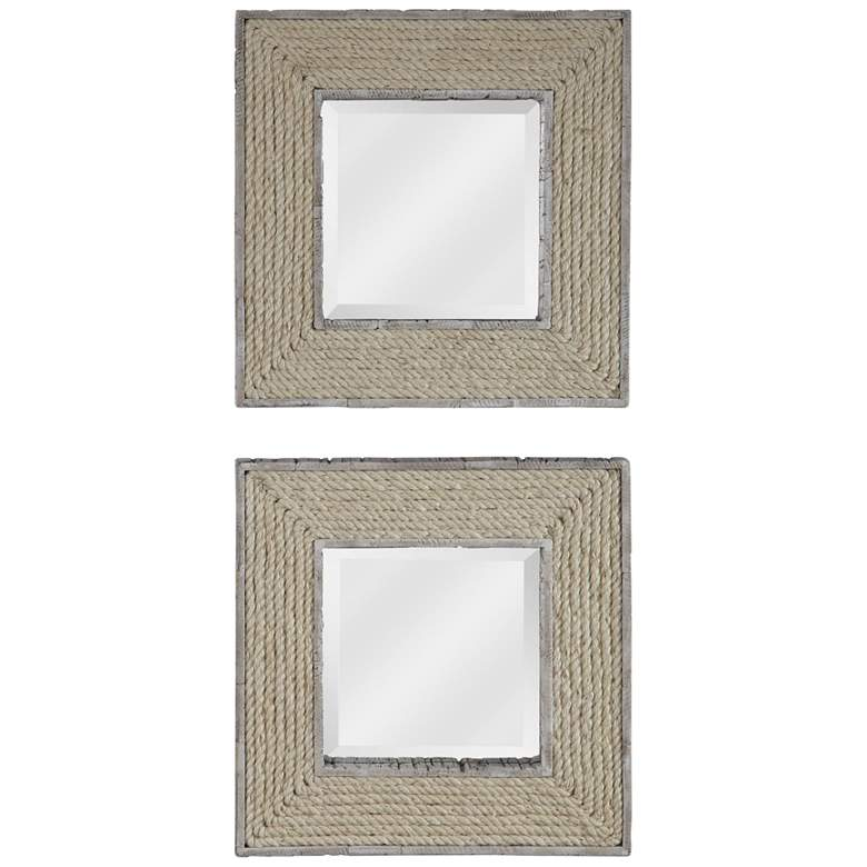 """Uttermost Cambay White Wash 20"""" Square Wall Mirrors Set of 2"""