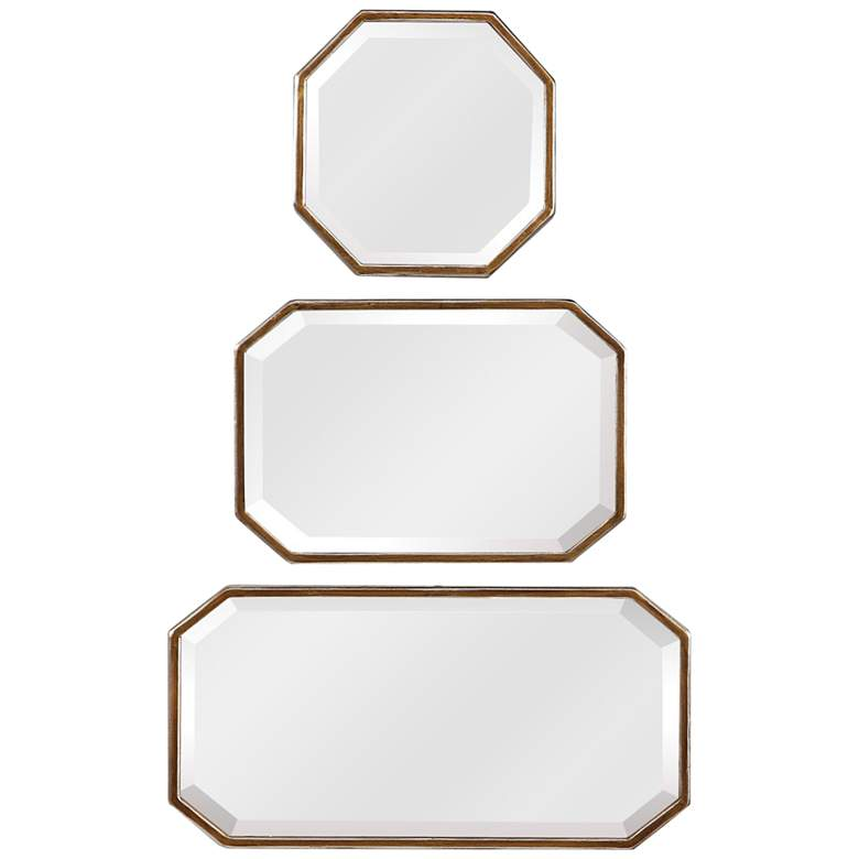 Uttermost Troiss Distressed Gold Leaf Wall Mirrors Set of 3