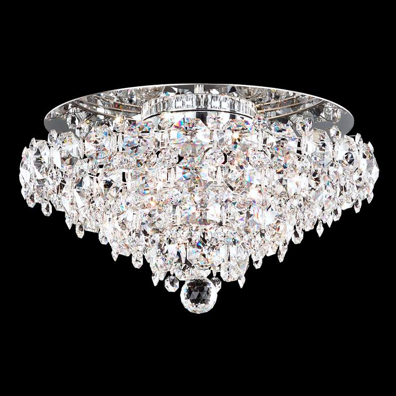 """Baronet 19"""" Wide Stainless Steel and Crystal Ceiling Light"""
