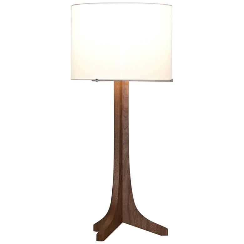 Cerno Nauta Walnut Wood LED Table Lamp w/ White Linen Shade