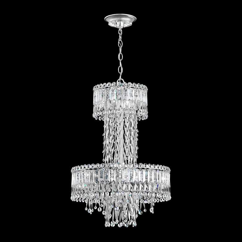 "Triandra 18 1/2""W Stainless Steel and Crystal 2-Tier Pendant"