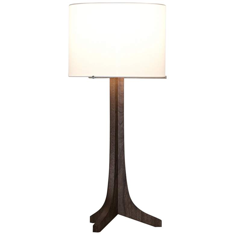 Nauta Stained Walnut LED Table Lamp with White Linen Shade