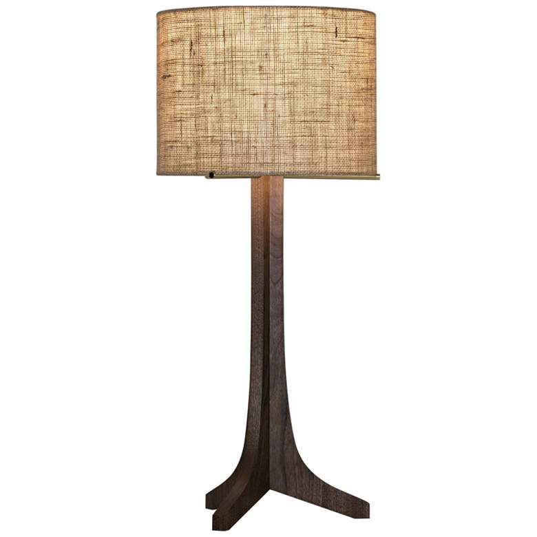 Cerno Nauta Stained Walnut LED Table Lamp with Burlap Shade