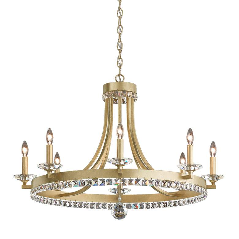 """Early American 31"""" Wide Round 8-Light Chandelier"""