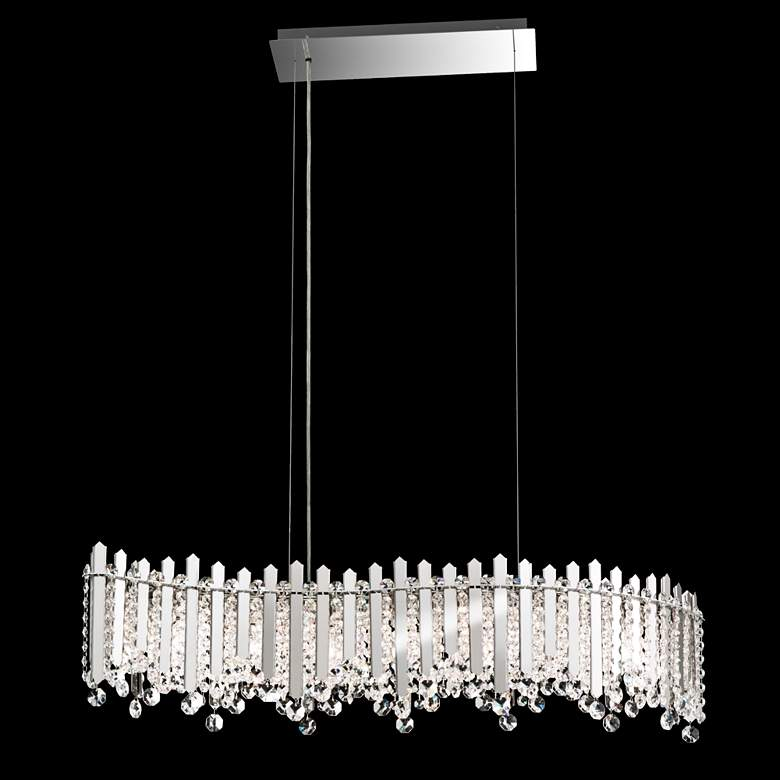 "Chatter 35"" Wide Stainless Steel and Crystal Island Pendant"