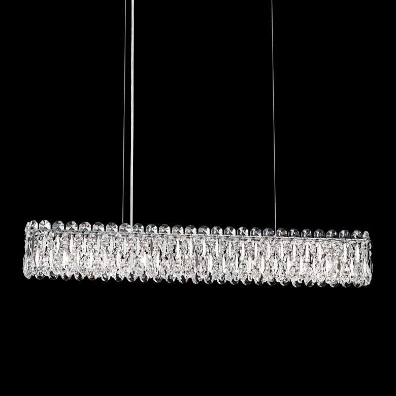 "Sarella 36 1/2""W Silver Crystal Kitchen Island Light Pendant"