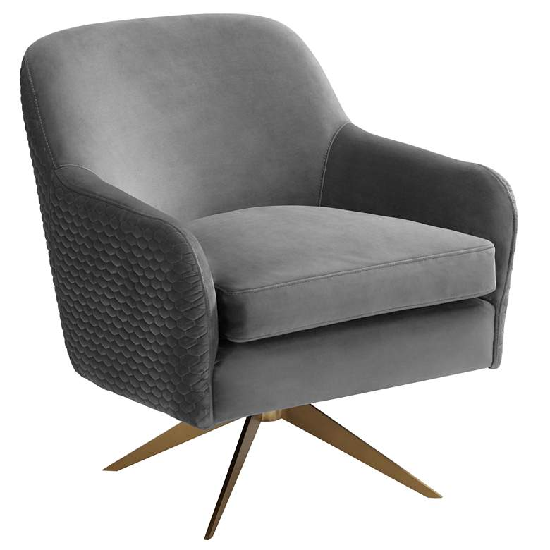 Ames Quilted Gray Velvet Swivel Chair