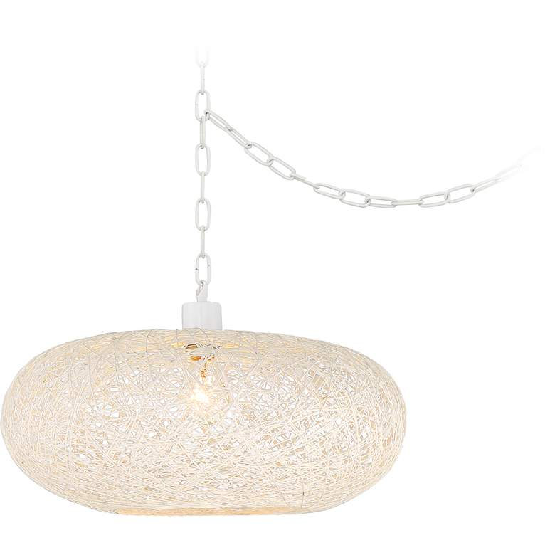 """Cumulus 18"""" Wide White Paper String Shade Swag Pendant Light"""