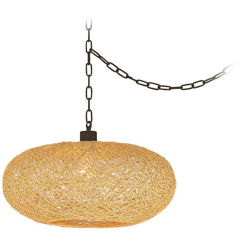 "Cumulus 17 1/2"" Wide Brown Paper String Shade Swag Pendant"