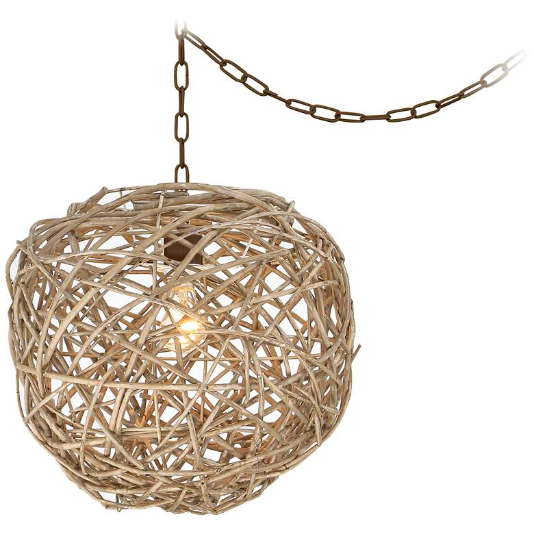 """Seahaven 17"""" Wide Rattan Shade Swag Pendant Light"""
