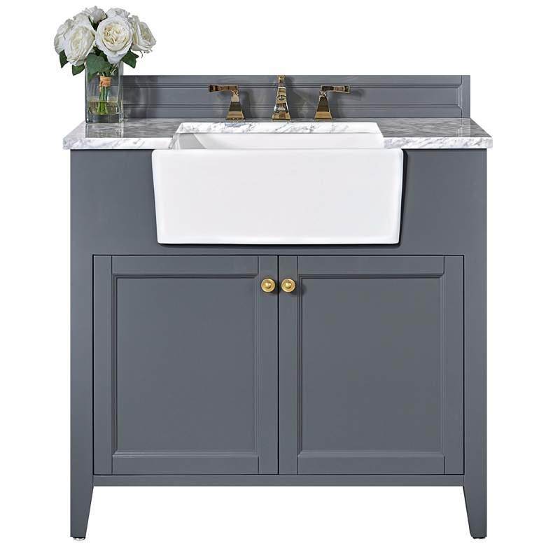 "Adeline Sapphire Gray 36""W White Marble Single Sink Vanity"