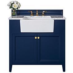 """Adeline Heritage Blue 36""""W White Marble Single Sink Vanity"""