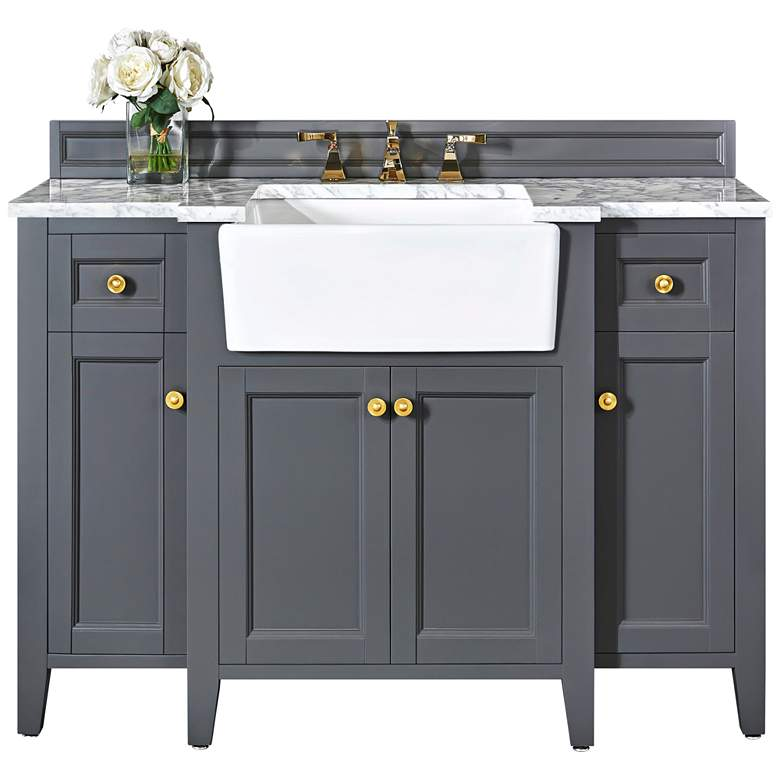 "Adeline Sapphire Gray 48""W White Marble Single Sink Vanity"