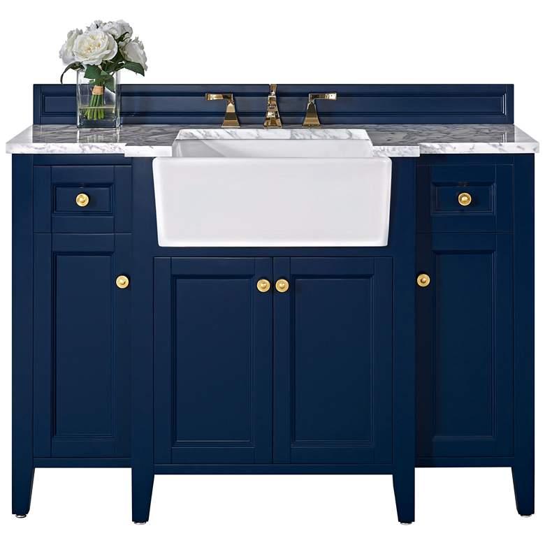 """Adeline Heritage Blue 48""""W White Marble Single Sink Vanity"""