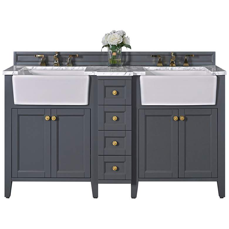 "Adeline Sapphire Gray 60""W White Marble Double Sink"