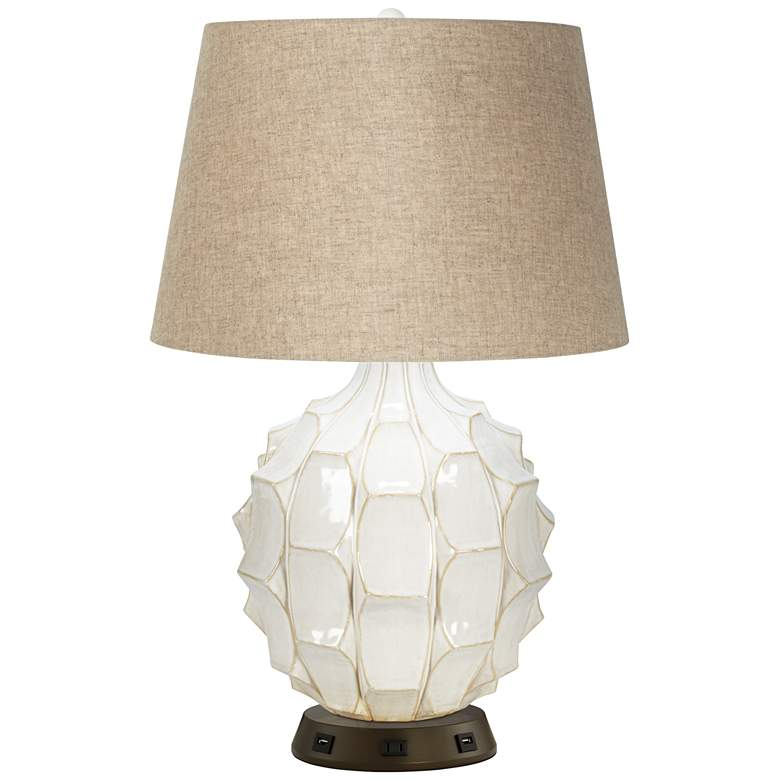Cosgrove Round White Ceramic Table Lamp with USB Workstation Base