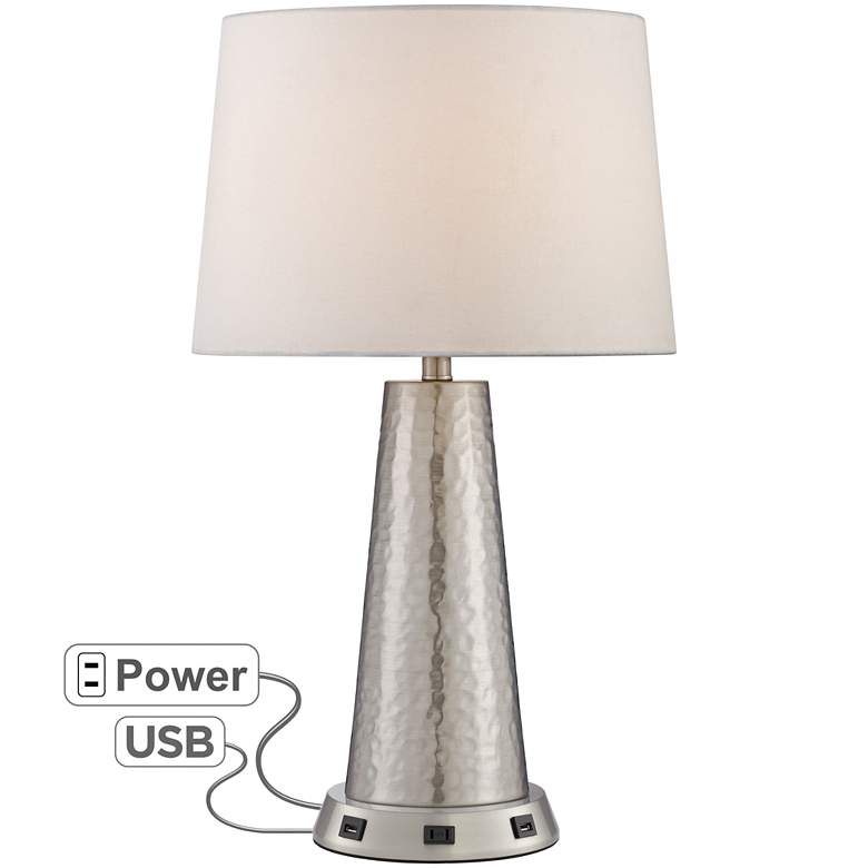 Silver Leaf Hammered Metal Table Lamp with USB Workstation Base