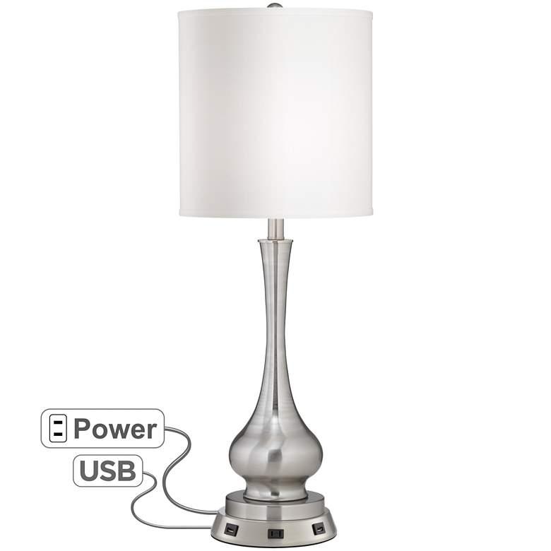 Possini Euro Sleek Gourd Table Lamp with USB Workstation Base