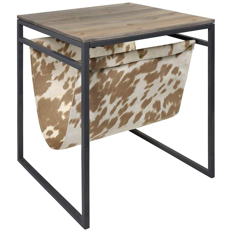 "Bryan Keith Dixon 18""W Natural Wood Side Table w/ Sling Rack"
